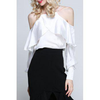 Satin Cold Shoulder Flounce Top