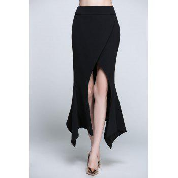Asymmetric Slit Maxi Skirt