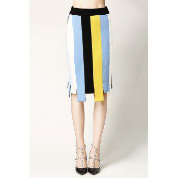 Color Block Jersey Skirt