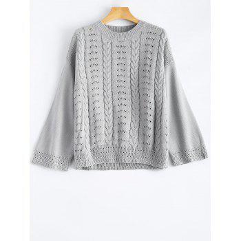 Hollow Out Round Neck Pullover Sweater