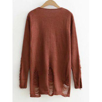 High-Low Ripped Sweater - COFFEE ONE SIZE