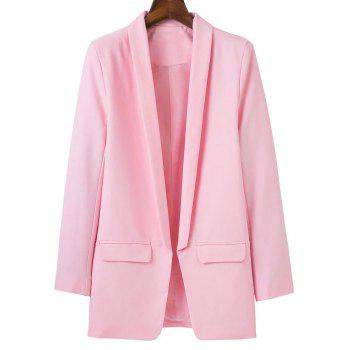 Shawl Collar Blazer With Pockets - PINK L