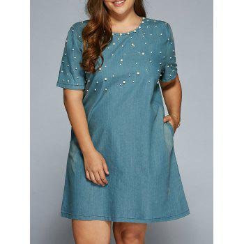 A Line Beading Denim Dress