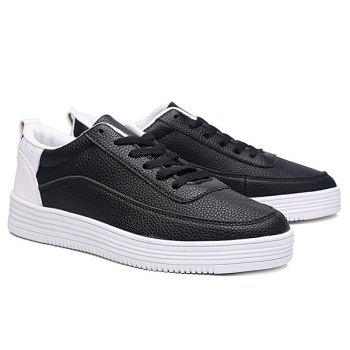Lace Up PU Leather Breathable Casual Shoes - WHITE/BLACK 43