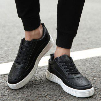 Lace Up PU Leather Breathable Casual Shoes - BLACK 42