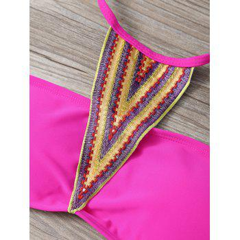 Ethnic Embroidered Halter Strapless Bikini - ROSE RED L