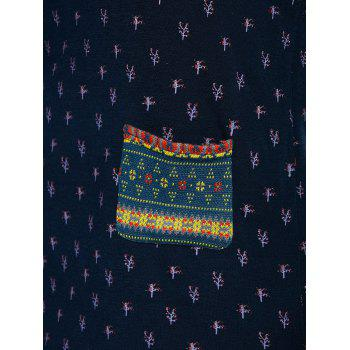 Tribal Sleeve Tree Top With Pockets - BLUE XL