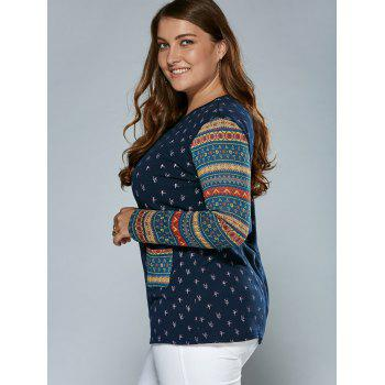 Tribal Sleeve Tree Top With Pockets - BLUE 3XL