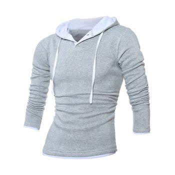 Button Up Contrast Trim Drawstring Hoodie - LIGHT GRAY 3XL