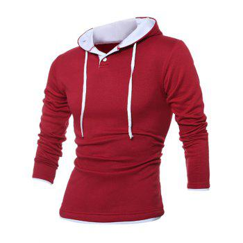 Button Up Contrast Trim Drawstring Hoodie - RED M