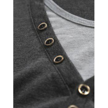 Round Neck Long Sleeves Button Embellished T-Shirt - GRAY M