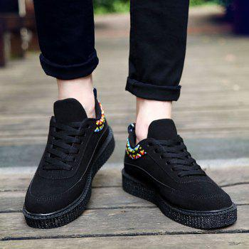Suede Lace Up Geometric Pattern Casual Shoes - BLACK 40