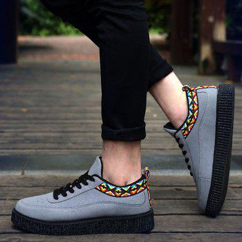 Suede Lace Up Geometric Pattern Casual Shoes - GRAY 40
