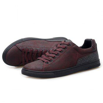Geometric Print Tie Up Casual Shoes - WINE RED 40