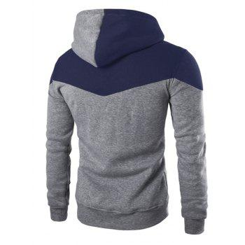 IZZUMI Classic Color Block Front Pocket Hooded Long Sleeves Men's Hoodie - GRAY M