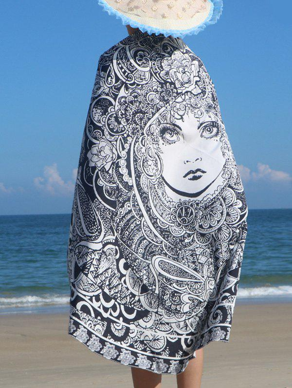 Round Shape Floral Girl Print Beach ThrowWomen<br><br><br>Size: ONE SIZE<br>Color: GRAY