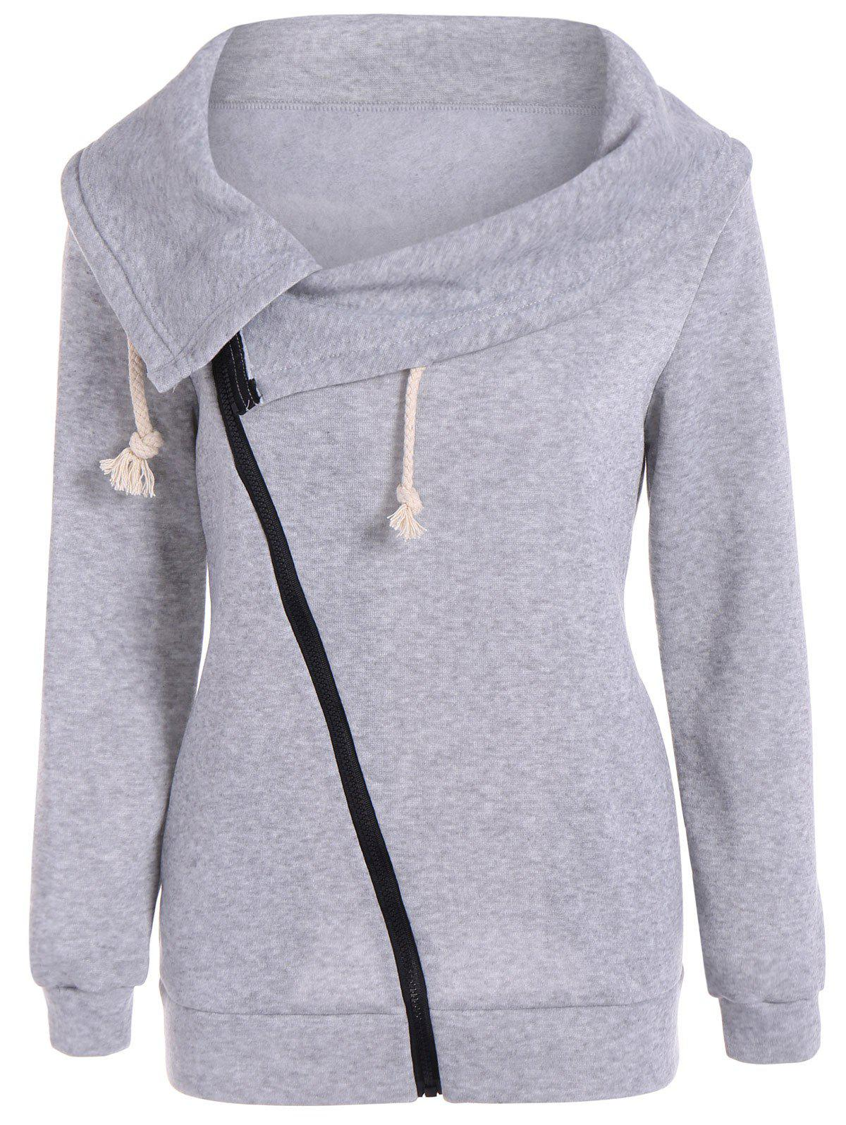 Inclined Zipper Pockets Sweatshirt - GRAY M