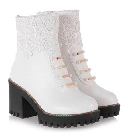 Chunky Heel Beading Lace Splicing Ankle Boots - WHITE 40