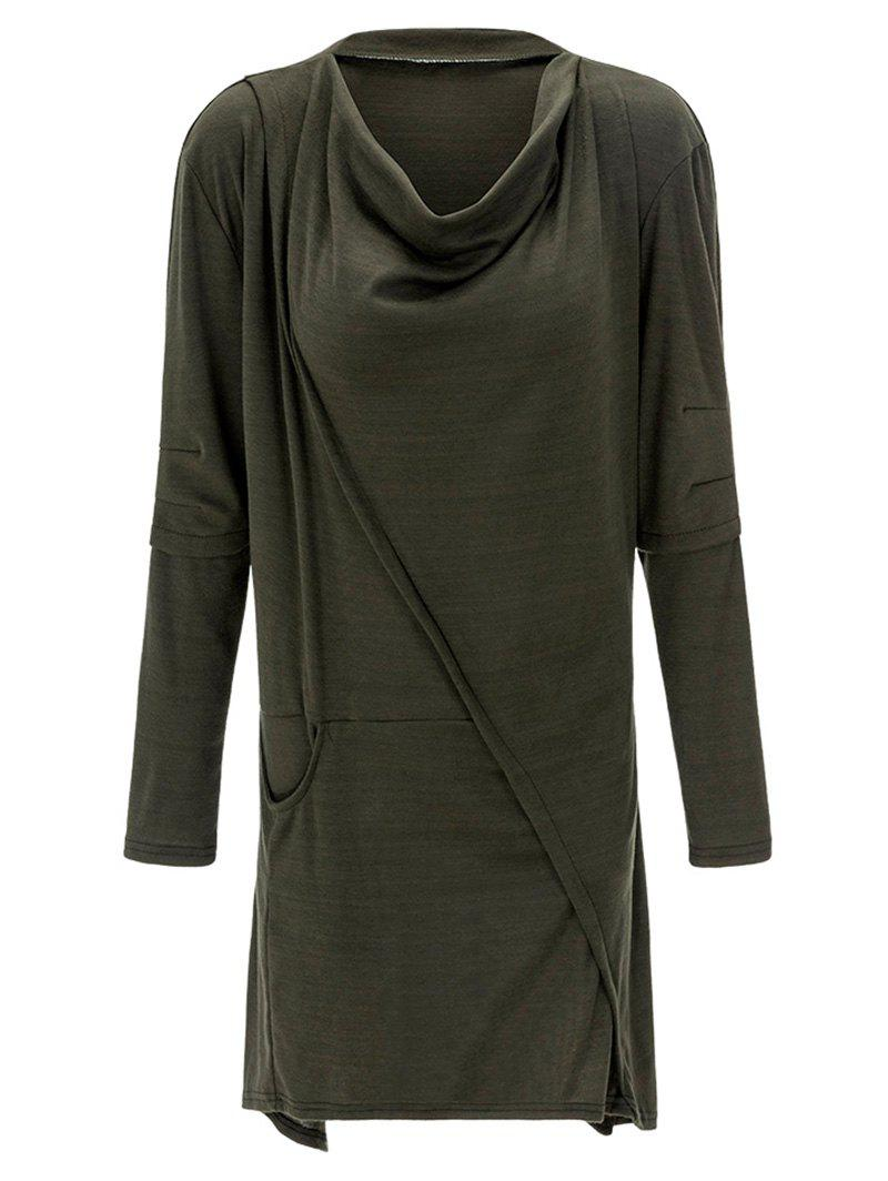 Cowl Neck Asymmetrical Sweatshirt - ARMY GREEN M
