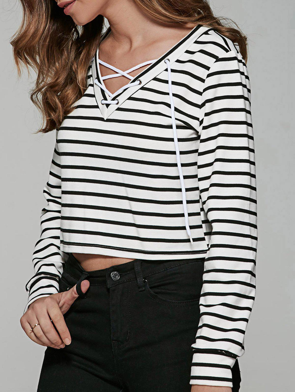 Lace Up Striped Print T-Shirt - WHITE/BLACK L