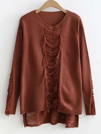 High-Low Ripped SweaterWomen<br><br><br>Size: ONE SIZE<br>Color: COFFEE