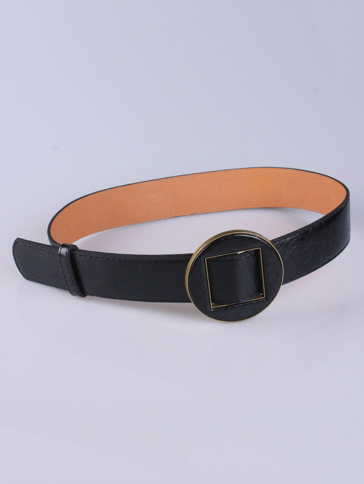 Coat Wear Hollow Square Round Buckle Wide Belt, Black