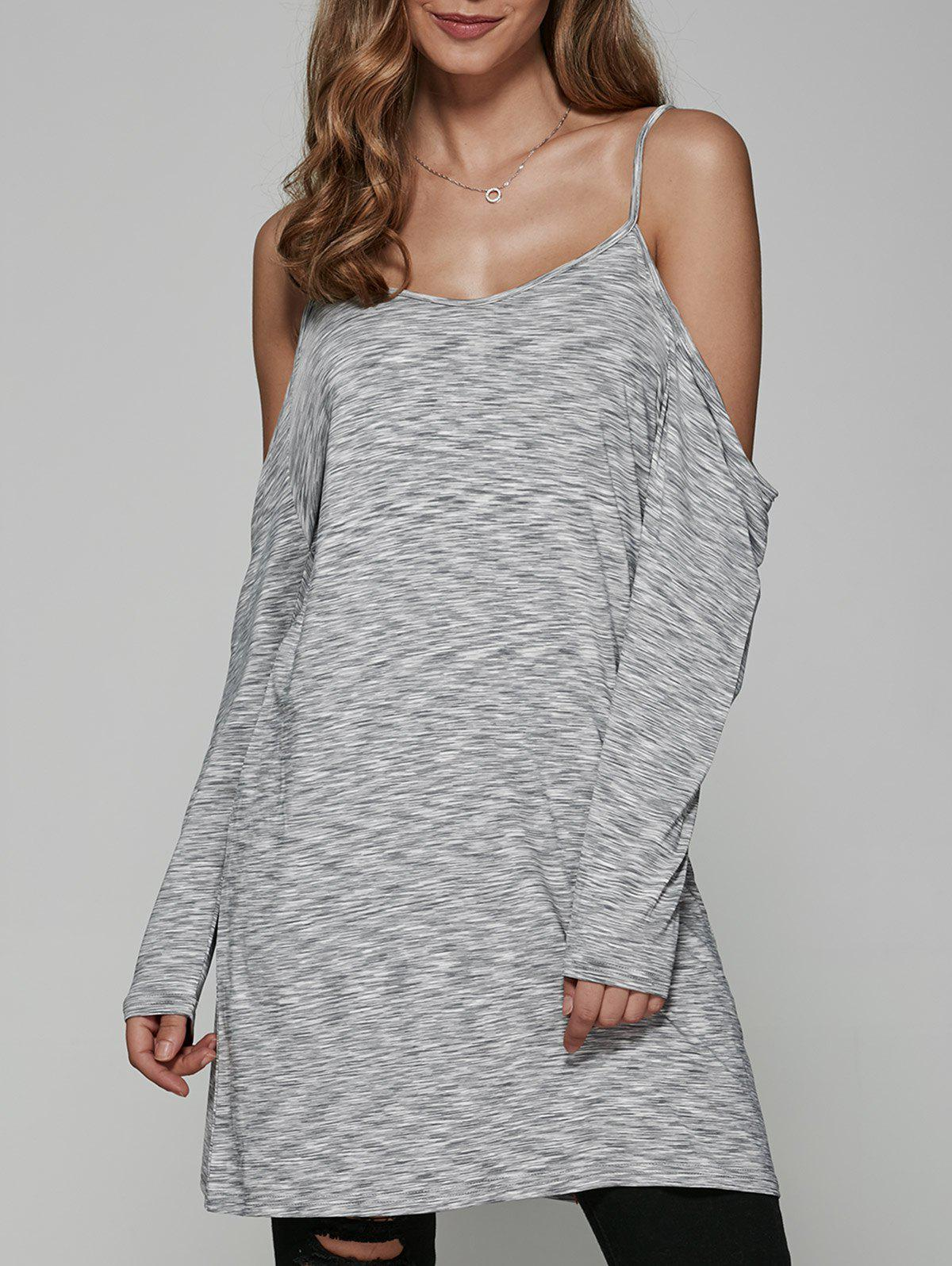 Cold Shoulder Heather Long T-Shirt - GRAY M
