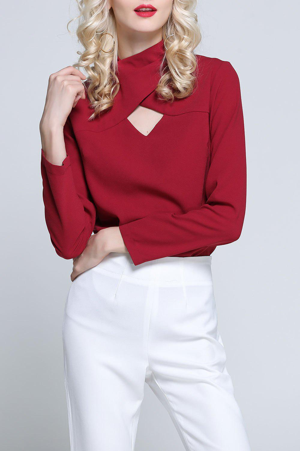 High Neck Cut Out Top - RED S