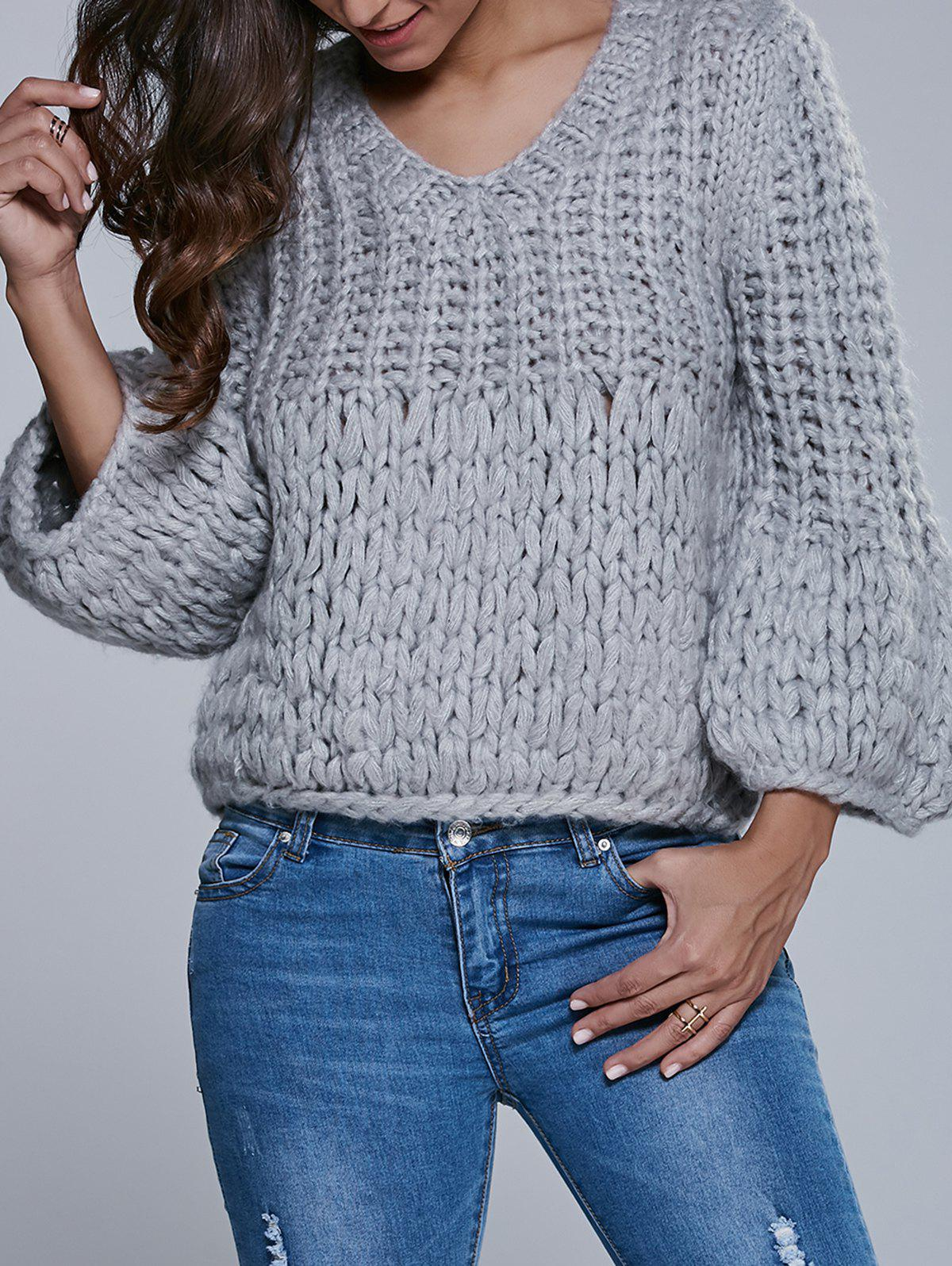 Faux Mohair Puff Sleeve Short Sweater - GRAY ONE SIZE