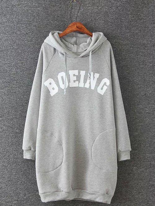 Plus Size Letter Print Hooded Sweatshirt Dress - GRAY XL
