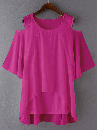 Plus Size Cut Out Layered Chiffon BlouseWomen<br><br><br>Size: 5XL<br>Color: ROSE RED