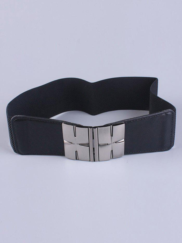 Coat Wear Double Metal H Buckle Stretch Belt - BLACK