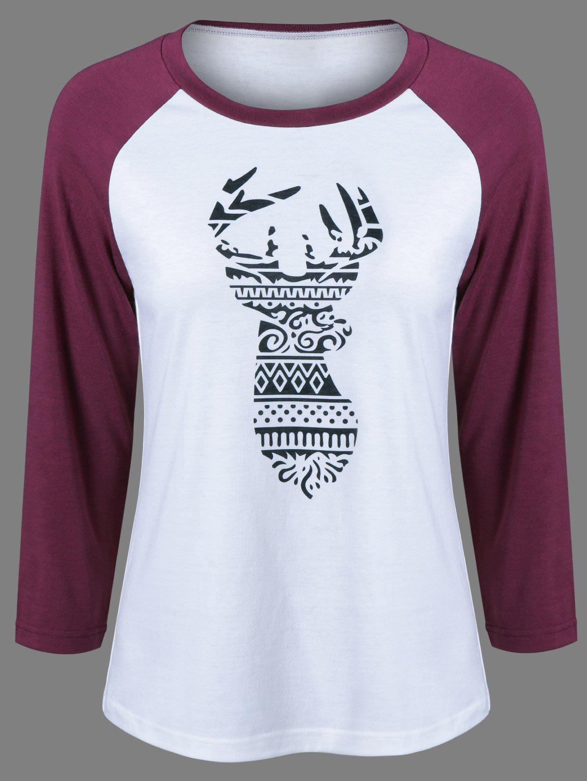 Raglan Sleeve Deer Pattern Christmas T-Shirt - BLACK/WHITE/RED L