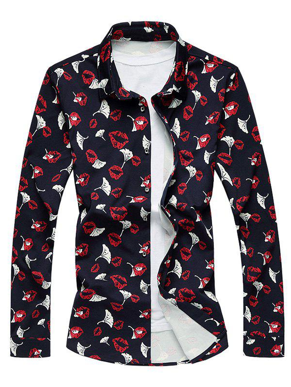 All-Over Lip Printed Long Sleeve Shirt men all over florals shirt
