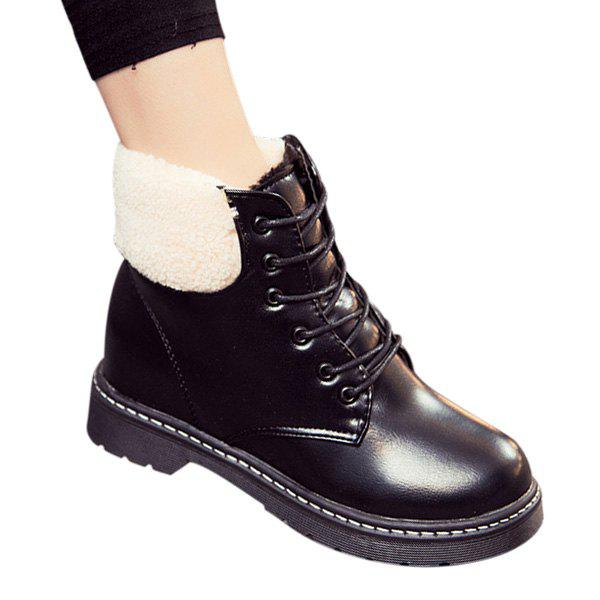 Winter Warm PU Leather Flat Lace Up Ankle Boots winter