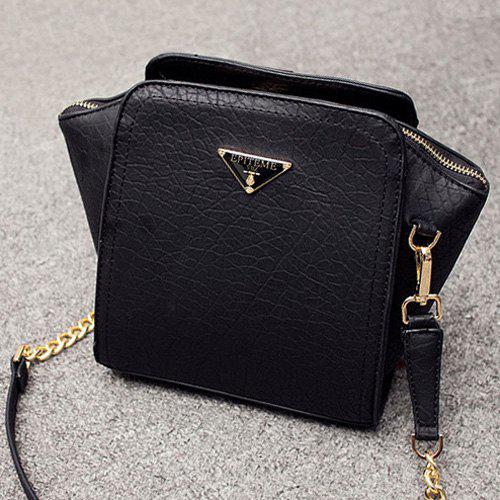 Chain Metal Embossing Crossbody BagBags<br><br><br>Color: BLACK