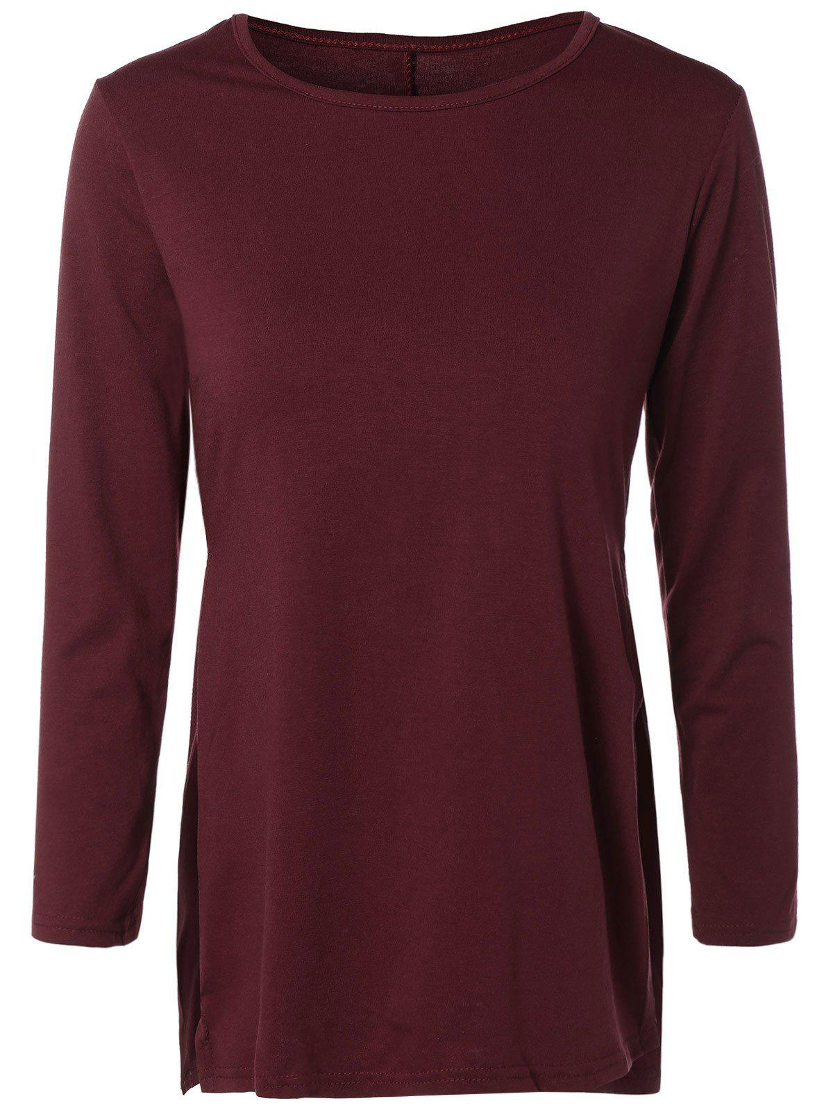 Side Slit Long T-Shirt - WINE RED XL