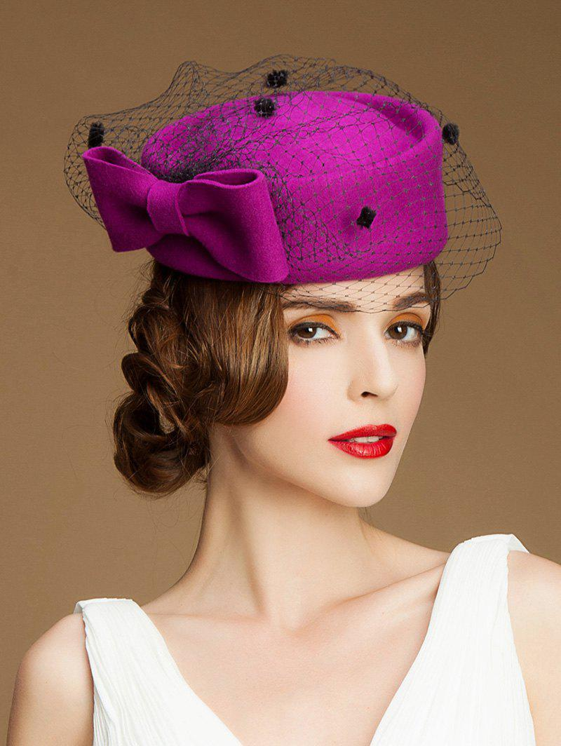 Sororal Party Big Bow Veil Pillbox HatAccessories<br><br><br>Color: PURPLISH RED