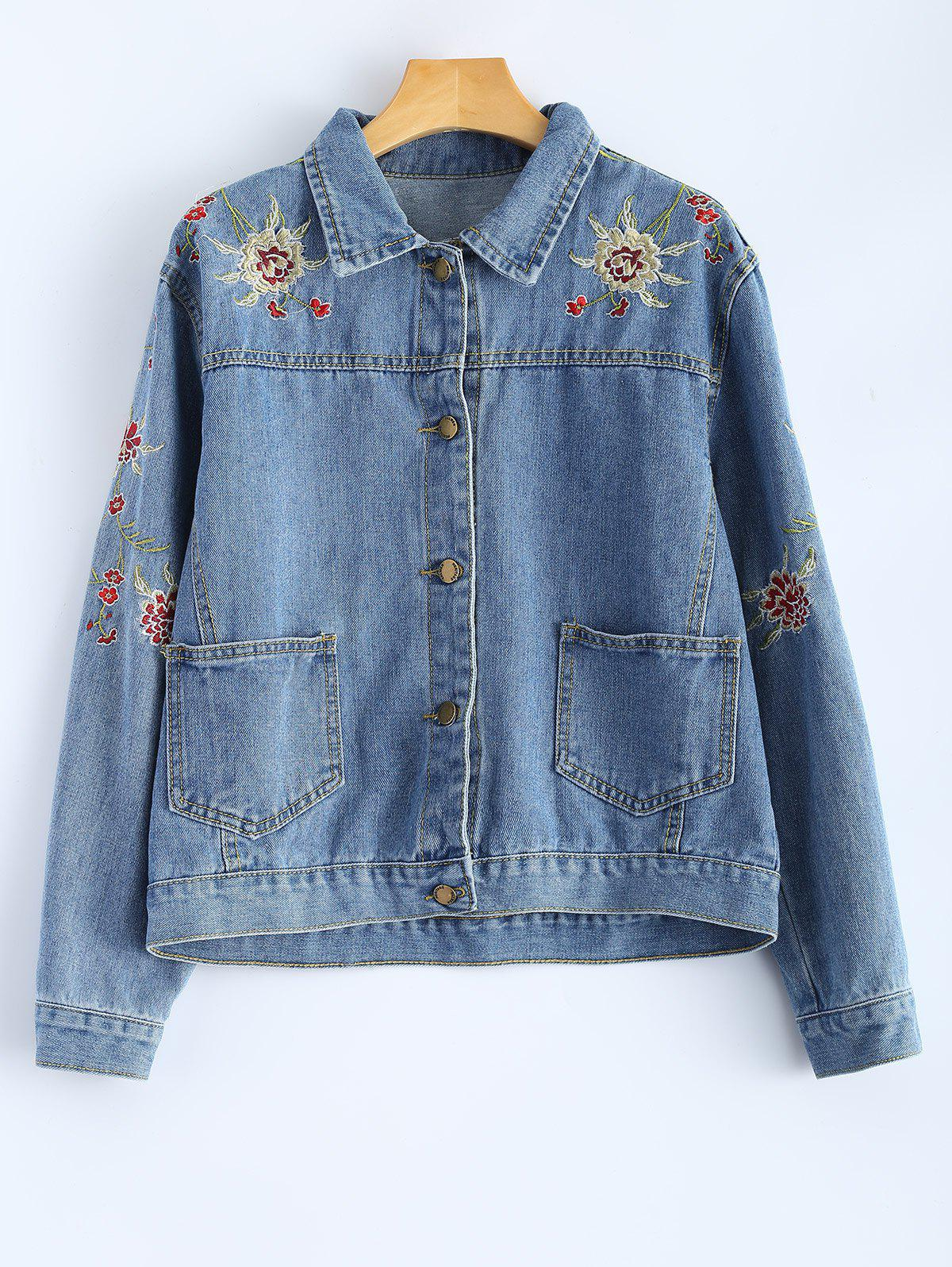 Shirt Neck Retro Floral Embroidered Denim Jacket - DENIM BLUE S
