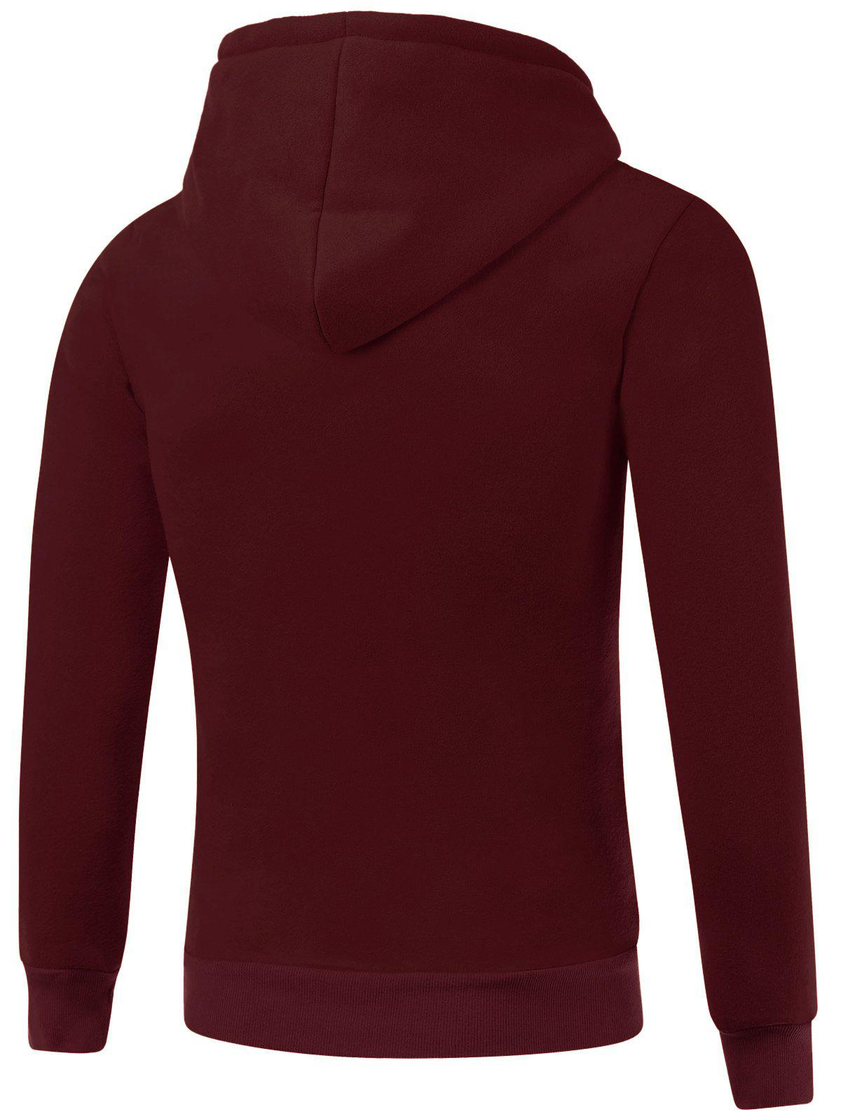 Drawstring Kangaroo Pocket Hallowmas Hoodie - Rouge vineux 3XL