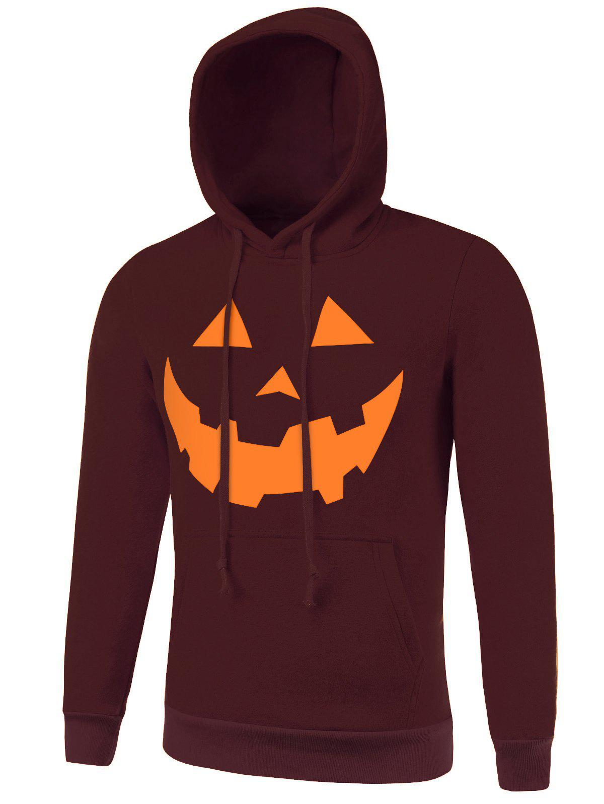 Drawstring Kangaroo Pocket Hallowmas Hoodie - WINE RED XL