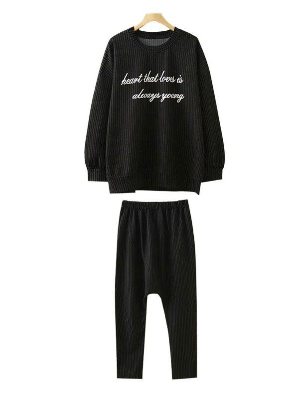 Plus Size Sweatshirt and Harem Pants - BLACK 2XL
