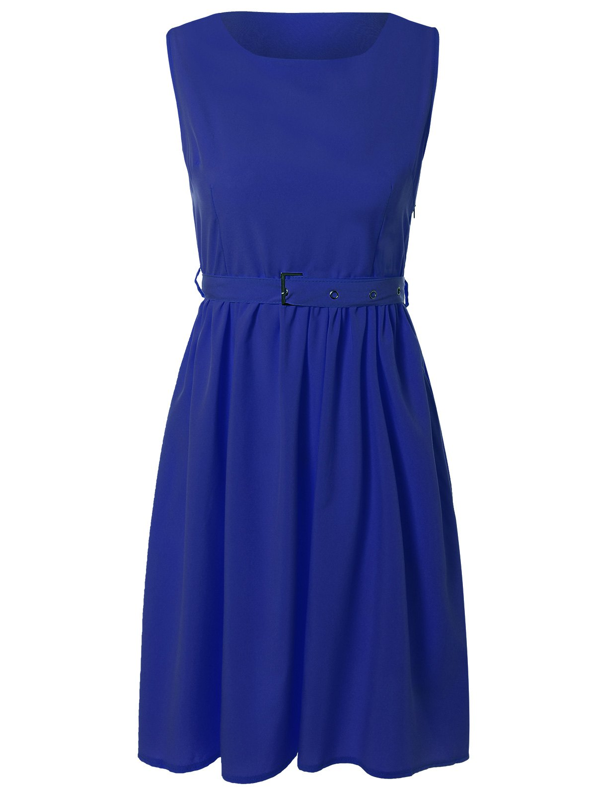 Vintage Belted A-Line Dress - BLUE M