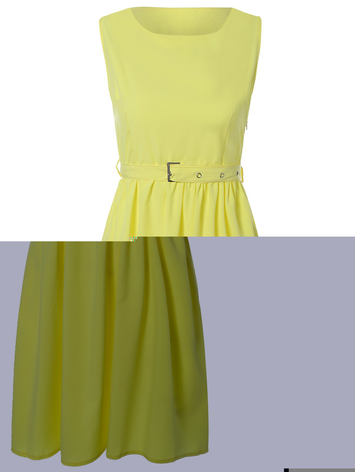 Vintage Belted A-Line Dress - YELLOW M