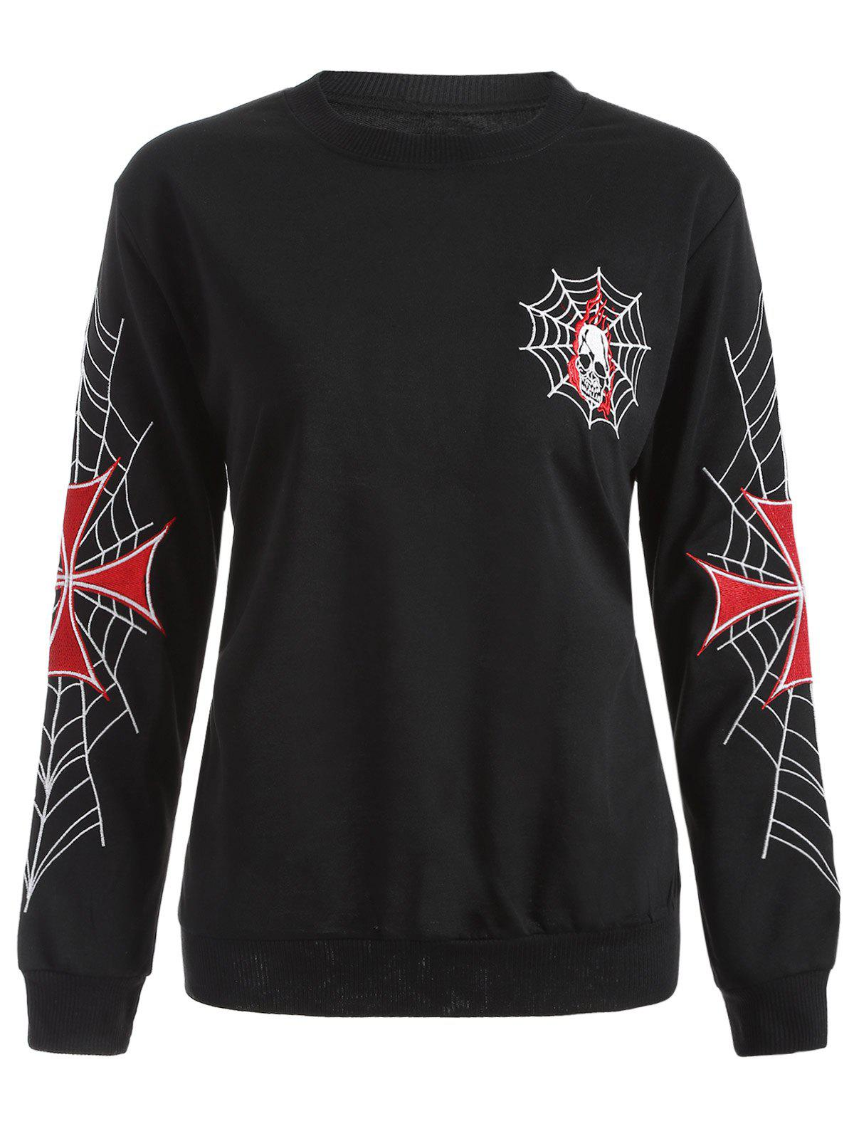 Punk Embroidered Loose Sweatshirt - BLACK XL