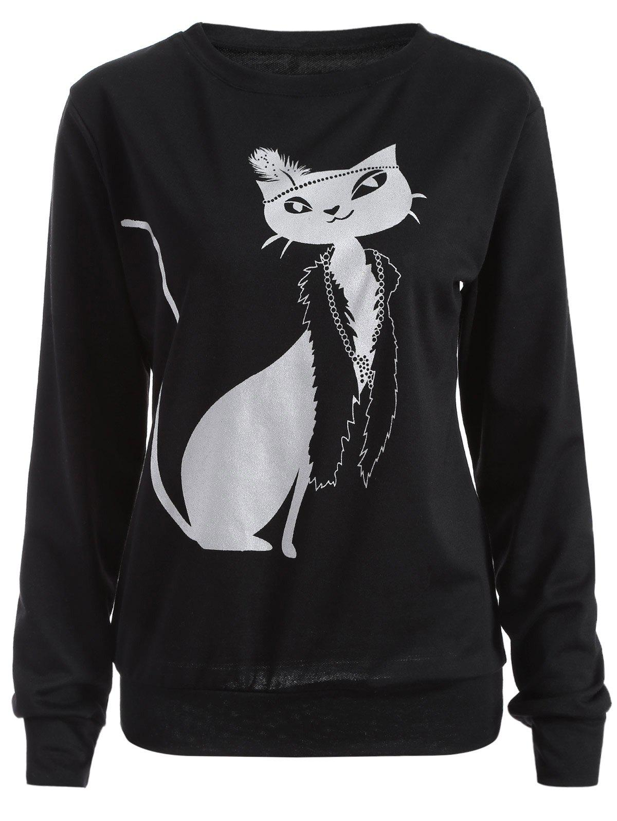 Casual Cat Print Loose Sweatshirt - BLACK M