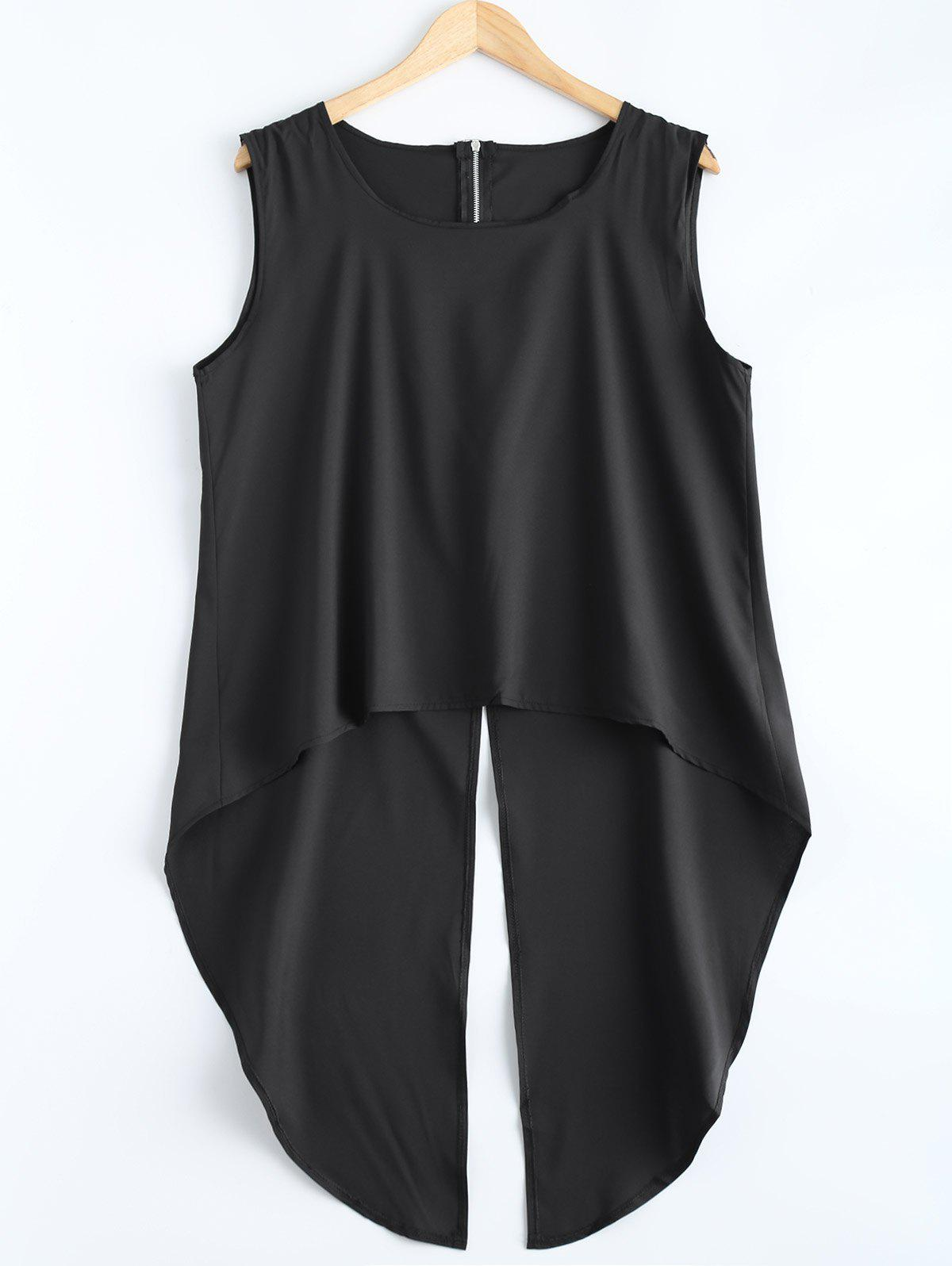 High Low Slit Tank Top - BLACK S