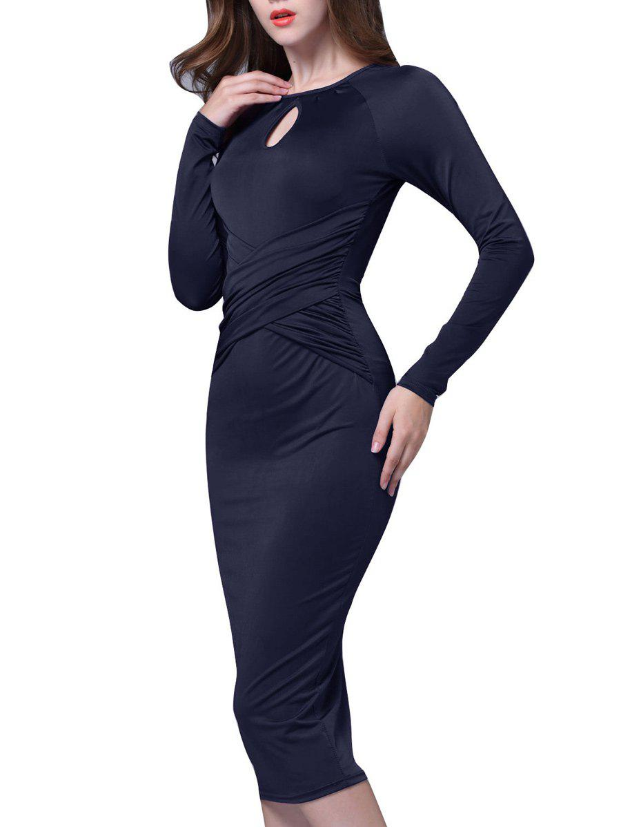 Keyhole Neck Long Sleeve Midi Bodycon Bandage Dress exaggerate bell sleeve buttoned keyhole dress