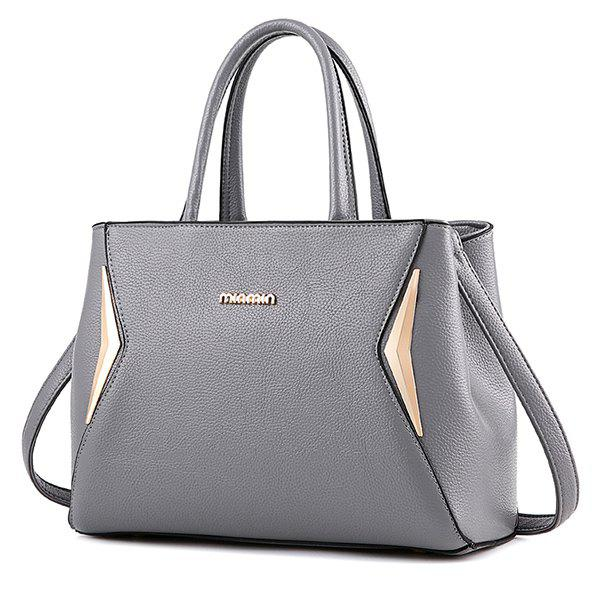 Zip Metallic Tote Bag - LIGHT GRAY