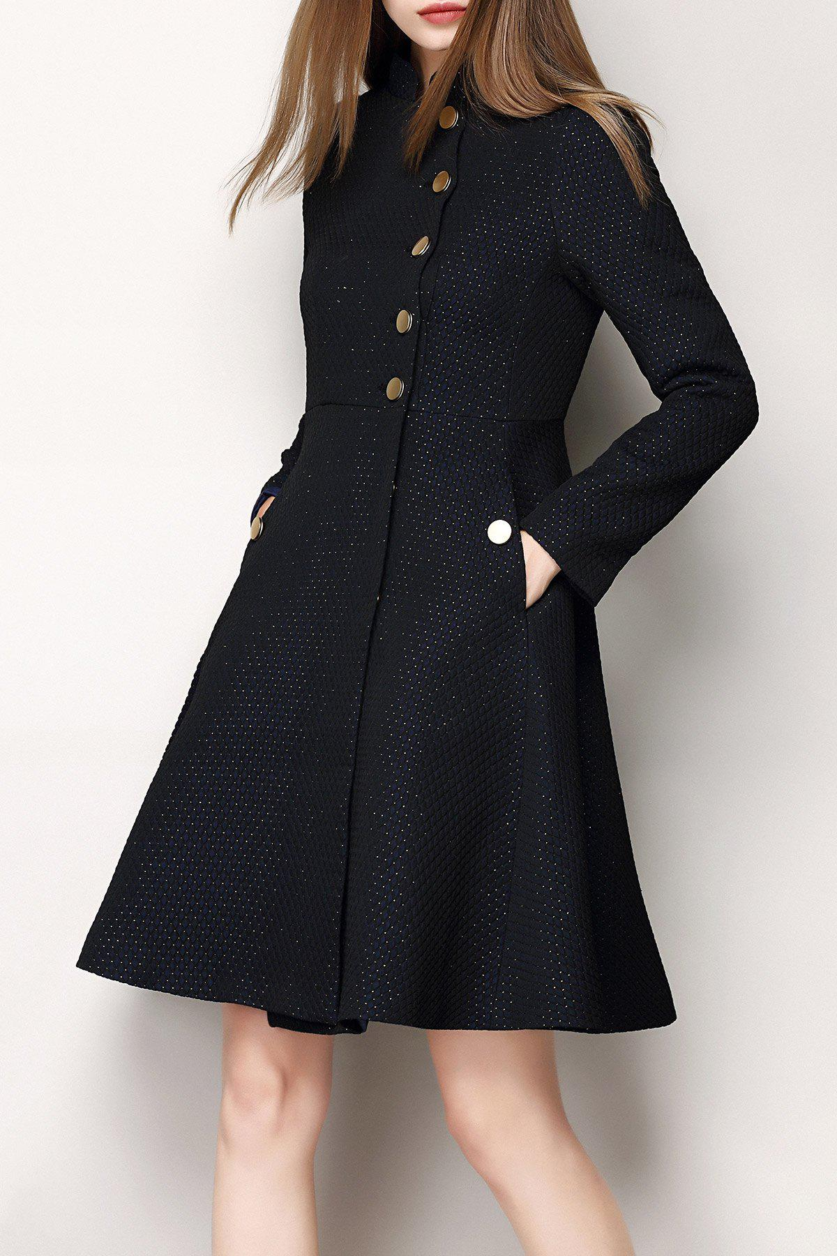 Jacquard Single Breasted A Line Coat - BLACK XL